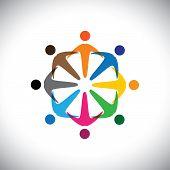 Conceito vetor gráfico - Resumo Icons(signs) diversidade de pessoas coloridas