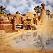 stock photo of oasis  - Old fabulous city and lake in the desert  - JPG