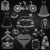 stock photo of chapels  - Chalkboard Style Wedding Themed Doodles in white - JPG