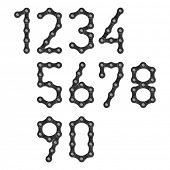Bicycle chain numbers. Vector.