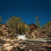 Beautiful panoramic view of the Crystal River and Crystal Mill, or Lost Horse Mill, an old wooden po