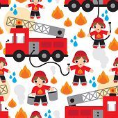 pic of ladder truck  - Seamless kids fire men and truck illustration background pattern in vector - JPG