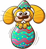 Nice bunny being born from a beautiful Easter egg