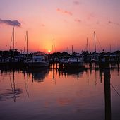 Marina at sunset, Fort Lauderdale, USA.