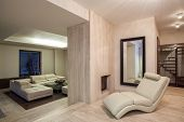Travertine House - Living Room With A Fireplace