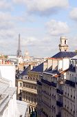 Rooftops Of Paris France Europe Residential Neighborhood Latin Quarter With View Of Eiffel Tower And