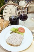 French Food Pate Terrine Of Rabbit With Red Wine In Cafe Photographed In Paris France Europe