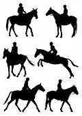 Six silhouettes of jockey riding race horse. Vector illustration.