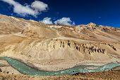 stock photo of manali-leh road  - Himalayan landscape in Himalayas along Manali - JPG
