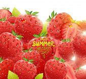 Vector illustration with bright Strawberry, sun shine and green leafs for summer design.