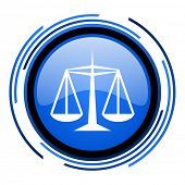 justice circle blue glossy icon