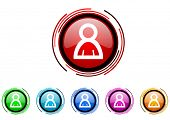 account circle web glossy icon colorful set