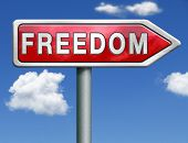 freedom peaceful free life without restrictions and peace democracy red road sign arrow with text and word concept