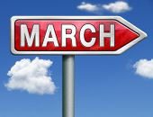 March pointing to next month of the year spring road sign arrow