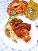 Grilled Pork With Whitish, Sweet Mustard, Pretzels And Beer