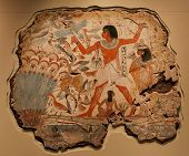 foto of wall painting  - Ancient Egyptian Wall Painting In The British Museum London - JPG