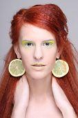 Girl With Lemon Slices In Ears