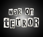 image of mayhem  - Illustration depicting a set of cut out printed letters arranged to form the words war on terror - JPG