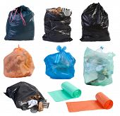 Garbage bags isolated on white background