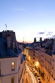 Night Scene With Car Movement Light Streaks Rue De Vaugirard Rooftops Of Paris France Europe Residen