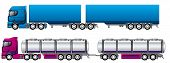 stock photo of 18 wheeler  - B double road trains tanker and regular - JPG