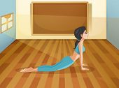 Illustration of a lady performing yoga inside a room with an empty board