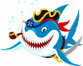 stock photo of pirate hat  - Great white shark with his pirate saber - JPG