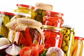 pic of pickled vegetables  - Composition with jars of pickled vegetables - JPG