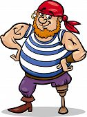image of peg-leg  - Cartoon Illustration of Funny Pirate Officer with Peg Leg - JPG