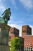 OSLO - JULY 15: Peter Wessel statue and panoramic view on the Oslo City Hall July 15, 2009 in Oslo,