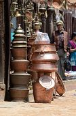 Local people selling copper houseware at their shops,Bhaktapur,Nepal