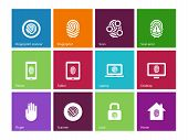 image of fingerprint  - Fingerprint icons on color background - JPG