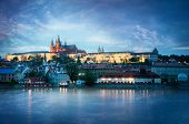stock photo of bohemia  - View of the Castle in Prague in the evening - JPG