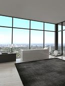 stock photo of penthouse  - 3d rendering of exclusive Luxury Bathroom Interior in a modern Penthouse - JPG