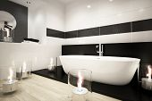 Modern bathroom interior with bathtub and candles
