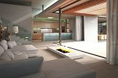 picture of penthouse  - Modern Loft Interior with white couch and fireplace - JPG