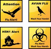 image of avian flu  - Set of vector Avian flu alerts icons - JPG