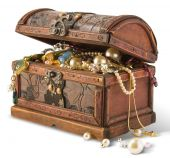 stock photo of treasure  - Treasure chest ancient isolated on white background - JPG