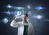 Doctor With Futuristic Touchscreen Interface