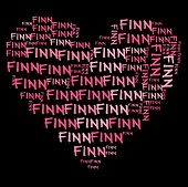 Nube de palabra Finn en letras color rosa sobre fondo negro