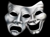 stock photo of tragic  - Stylized illustration of two theater masks merged into one - JPG