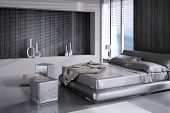 stock photo of flat-bed  - 3D rendering of modern bedroom interior - JPG