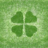 Clover With Four Leaves In Grunge Style