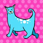 Gato bonito em fundo rosa