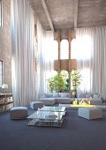 Modern design loft interior with huge floor to ceiling windows and white curtains