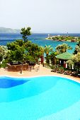 Swimming Pool Near Beach At Turkish Resort, Bodrum, Turkey