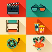 pic of popcorn  - Set of movie design elements and cinema icons in flat style - JPG