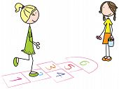 stock photo of hopscotch  - Cartoon illustration of two girls playing hopscotch - JPG