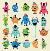 stock photo of freaky  - Vector Freaky Hipster Monsters Set Funny Illustration - JPG