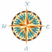 image of cartographer  - vector illustration of the golden wind rose - JPG